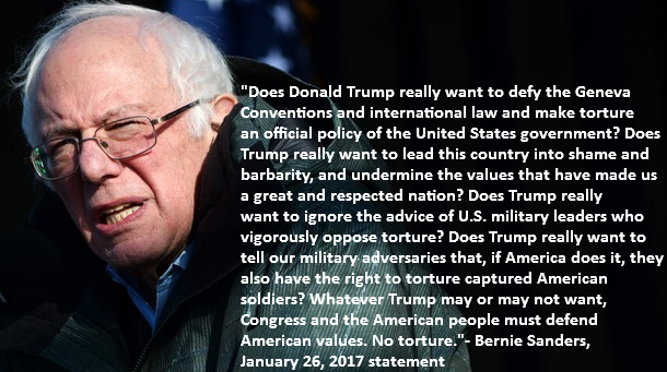 "In a recent statement against torture, Sanders accepted imperial precepts, basically saying that the US is ""great"" and worrying about helping our ""enemies."" Hence, his argument against torture is not progressive but is actually an imperialist one."